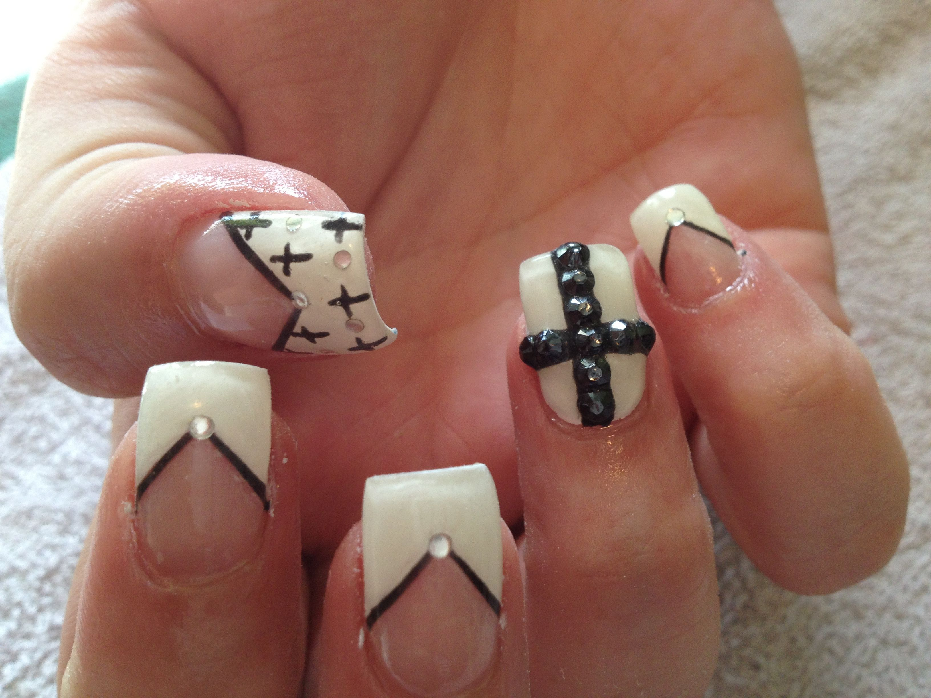 Black and white nails with crosses | Nails did | Pinterest | White ...