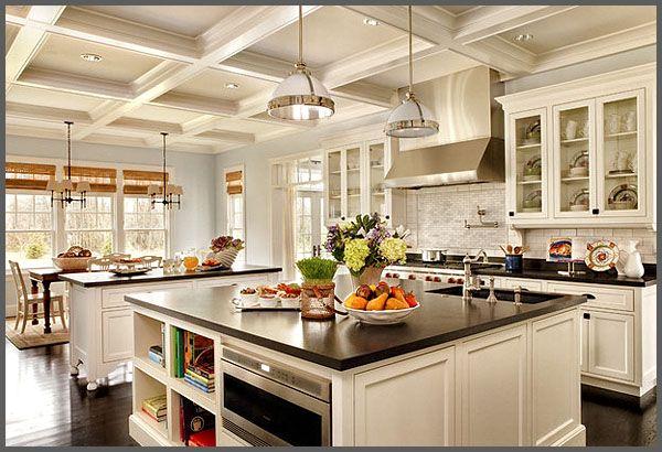 peaceful design ideas kitchen island lighting fixtures. kitchen island ideas using black white color and double lamp lighting 001 Kitchen  Island Design Ideas