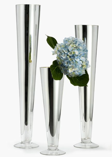 16 24 28 Inch H Silver Trumpet Vases Vases And Things To Buy