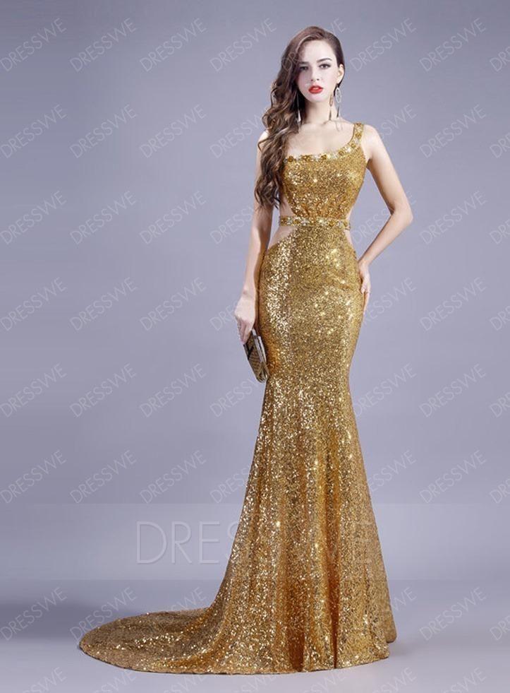 #xmas #Christmas #DressWe - #DressWe Sexy Sequins Backless Trumpet/Mermaid Sweep Train Prom Dress - AdoreWe.com