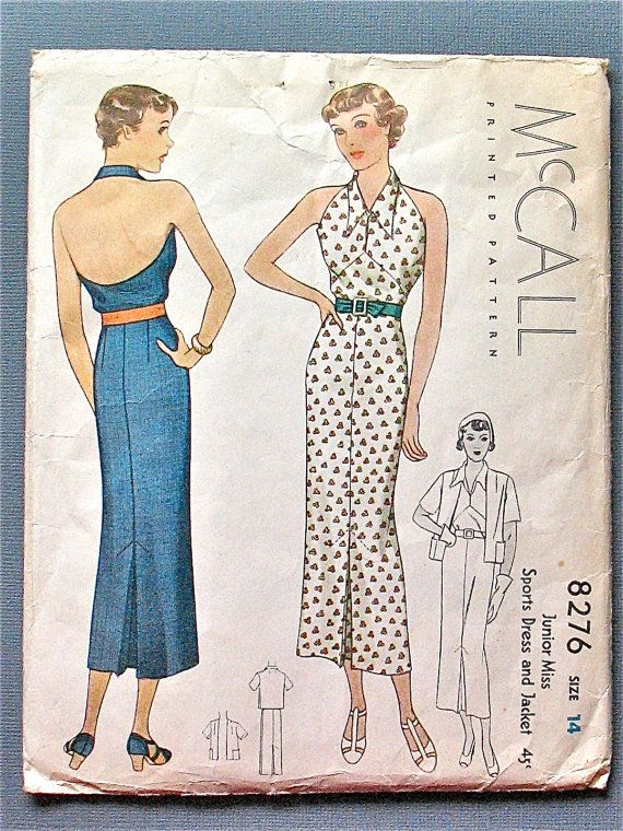 McCall 8276 | ca. 1935 Sports dress and jacket.