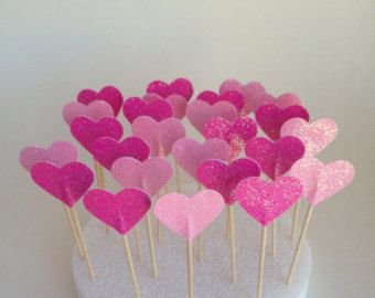 Heart Pink Glittered Party Picks Party Wedding by XOXOKristen