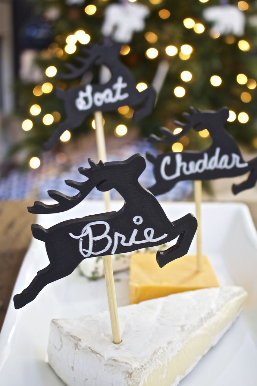 Christmas Cocktail Party Ideas Part - 40: DIY Cheese Marker Tags - Virtual Holiday Cocktail Party