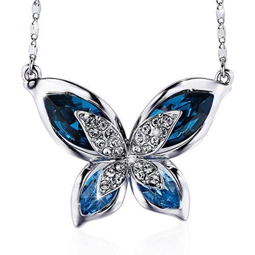 Blue Womens Ladies Fashion Butterfly Diamond Crystal Pendant Necklace Sweater Long Chain Jewelry Gifts