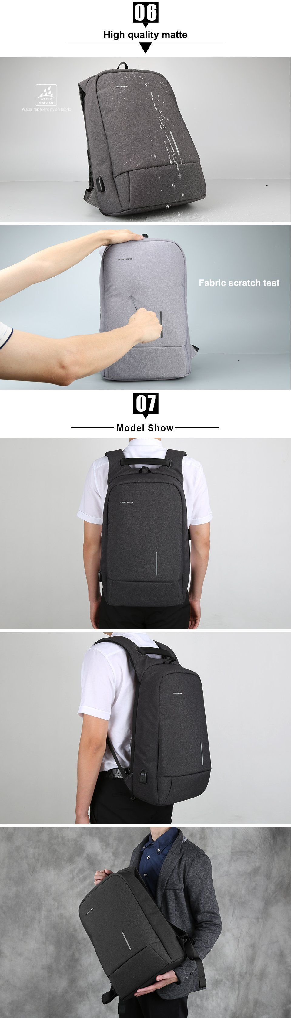 Description Laptop Backpack with external USB charging