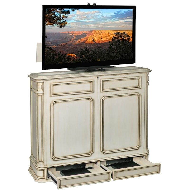 crystal pointe 360 swivel weathered white tv lift cabinet from com