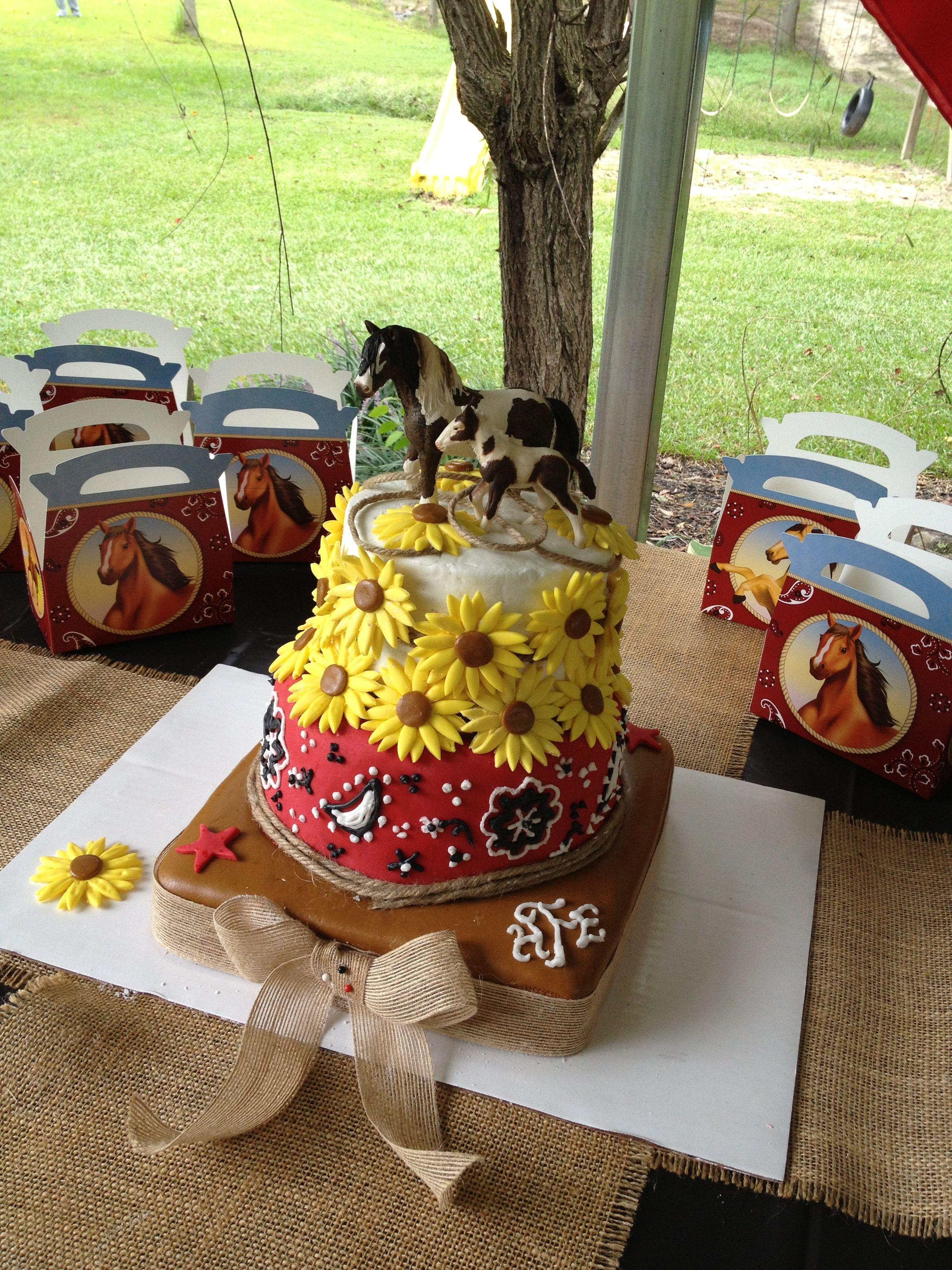 Phenomenal Sunflower Country Horse Birthday Cake Horse Birthday Cake Horse Funny Birthday Cards Online Elaedamsfinfo