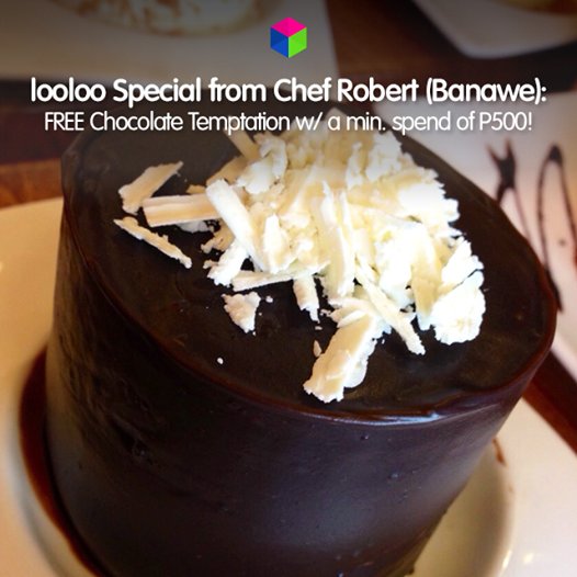 Chef Robert along Banawe Ave. in QC tempts us with its latest choco-licious looloo Special!  See why the place is averaging 4.5 stars on the #loolooapp! http://looloo.com/p/16757-chef-robert