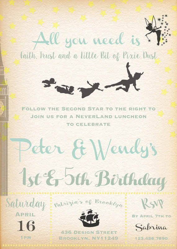Printable birthday boy girl invitation peter pan for Peter pan invitation template