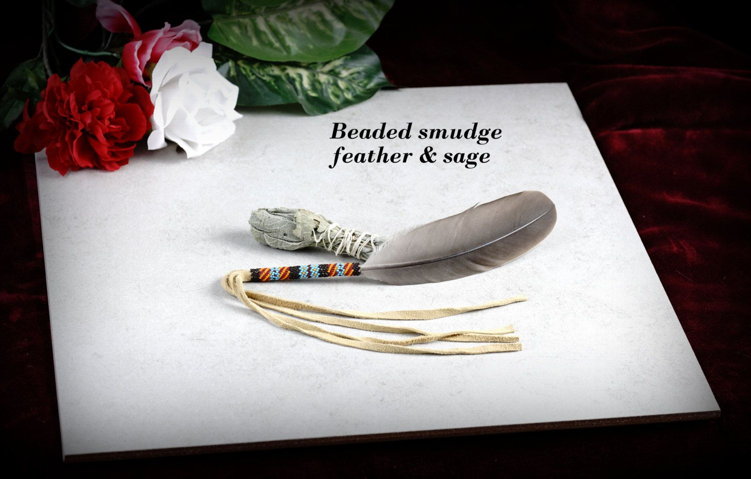 Smudge feather, beaded smudge feather, with sage wand. by