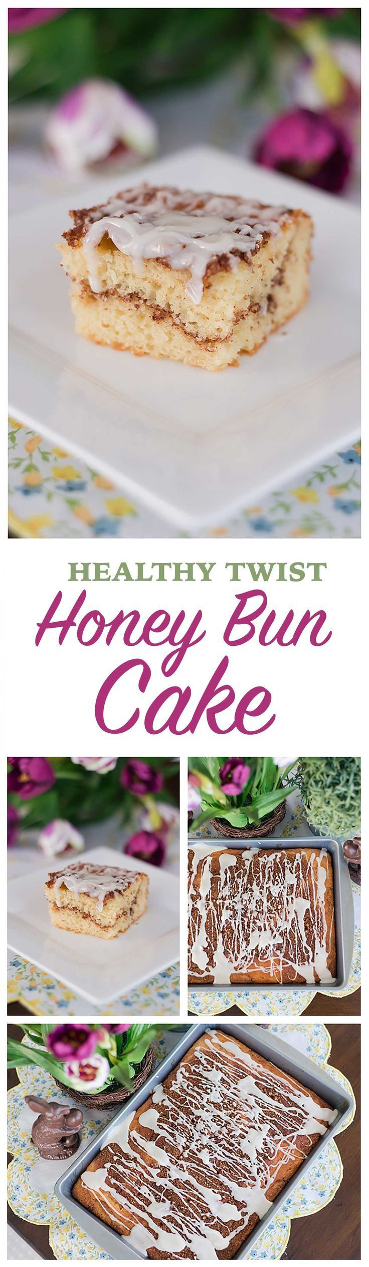 This easy Easter dessert recipe is lightened up thanks to a couple of simple substitutions Make this guiltfree Honey Bun Cake for dessert or brunch So quick and easy the...