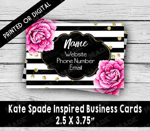 Kate Spade Inspired Single Sided Business Card Black White Stripe Business Cards Marketing To Business Card Black Business Stationery Kate Spade Inspired