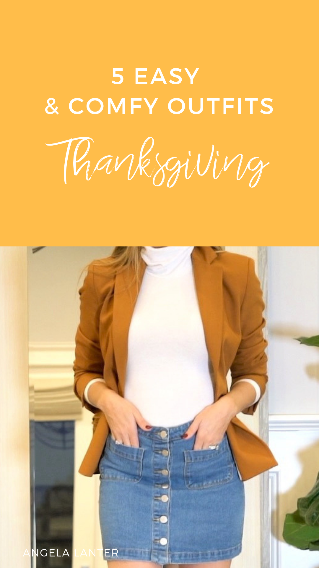 add6eb6a8034b 5 Easy and Comfy Outfit Ideas to wear for Thanksgiving. Angela Lanter Video  tutorial about what to wear on Thanksgiving. Re-create these outfits for  this ...