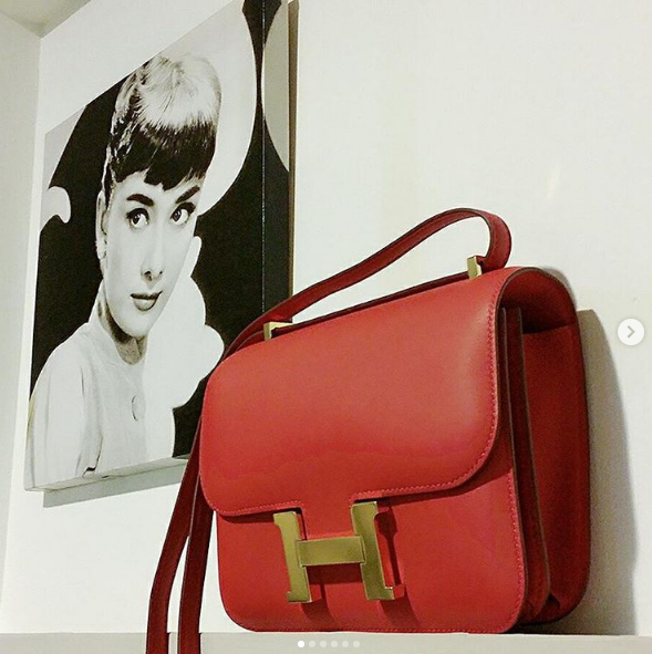 Hermes Mini Constance lll vermillion swift leather with gold
