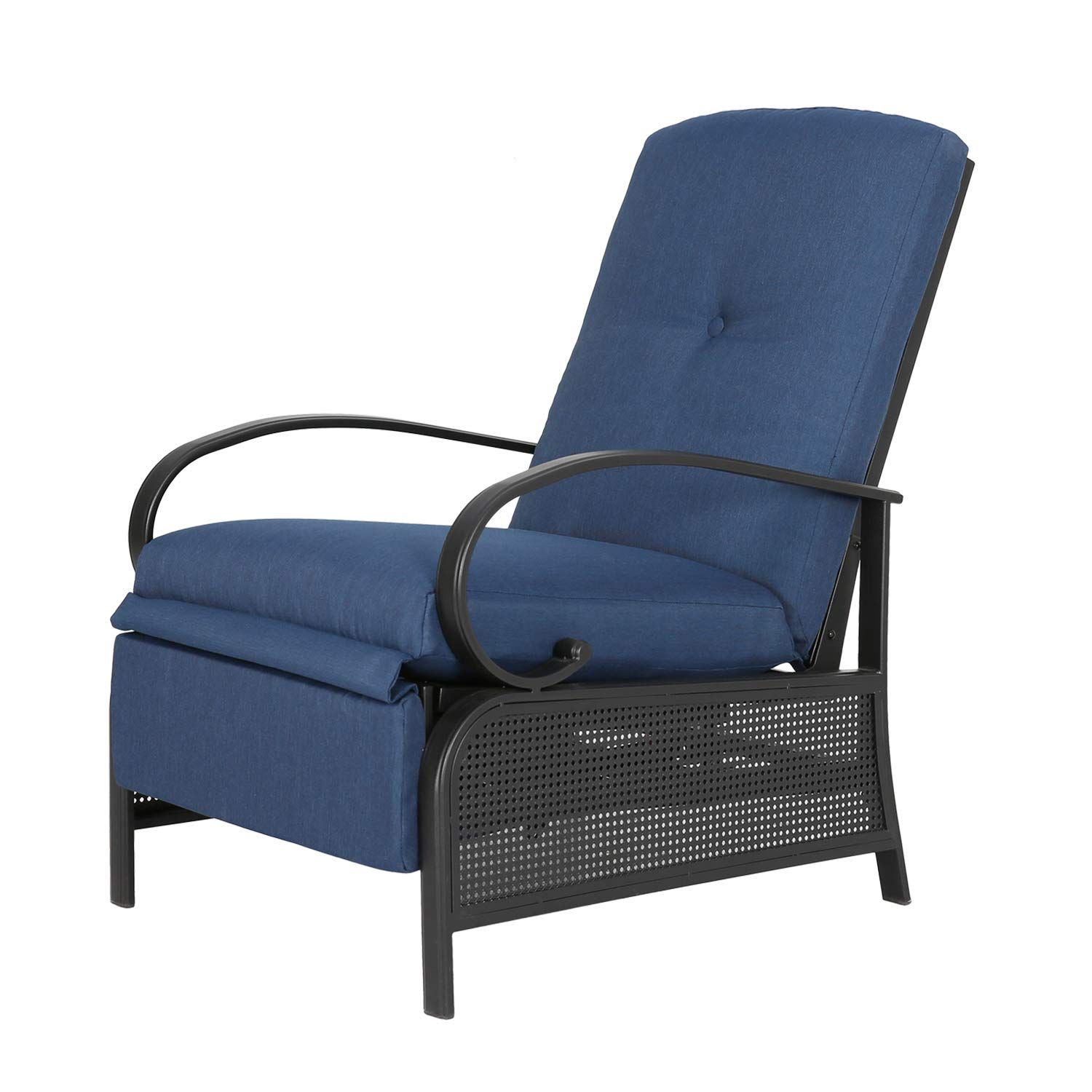 Ulax Furniture Patio Recliner Chair Automatic Adjustable Back Outdoor Lounge Chair With 100 Olefin Cushion N Patio Chairs Lounge Chair Outdoor Recliner Chair