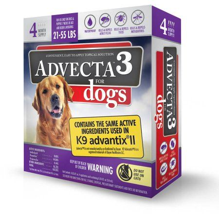 Advecta 3 Tick Flea And Mosquito Repellent And Treatment For Large Dogs 4 Monthly Doses Walmart Com Tick Control For Dogs Tick Treatment For Dogs Fleas