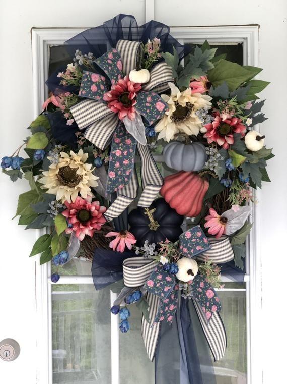 Photo of Sunflower Wreath, Summer Sunflower Wreath Pumpkin Wreath, Fall Farmhouse Wreath, Pumpkins on a Wreath, Autumn Wreath, Farmers Market Pumpkin