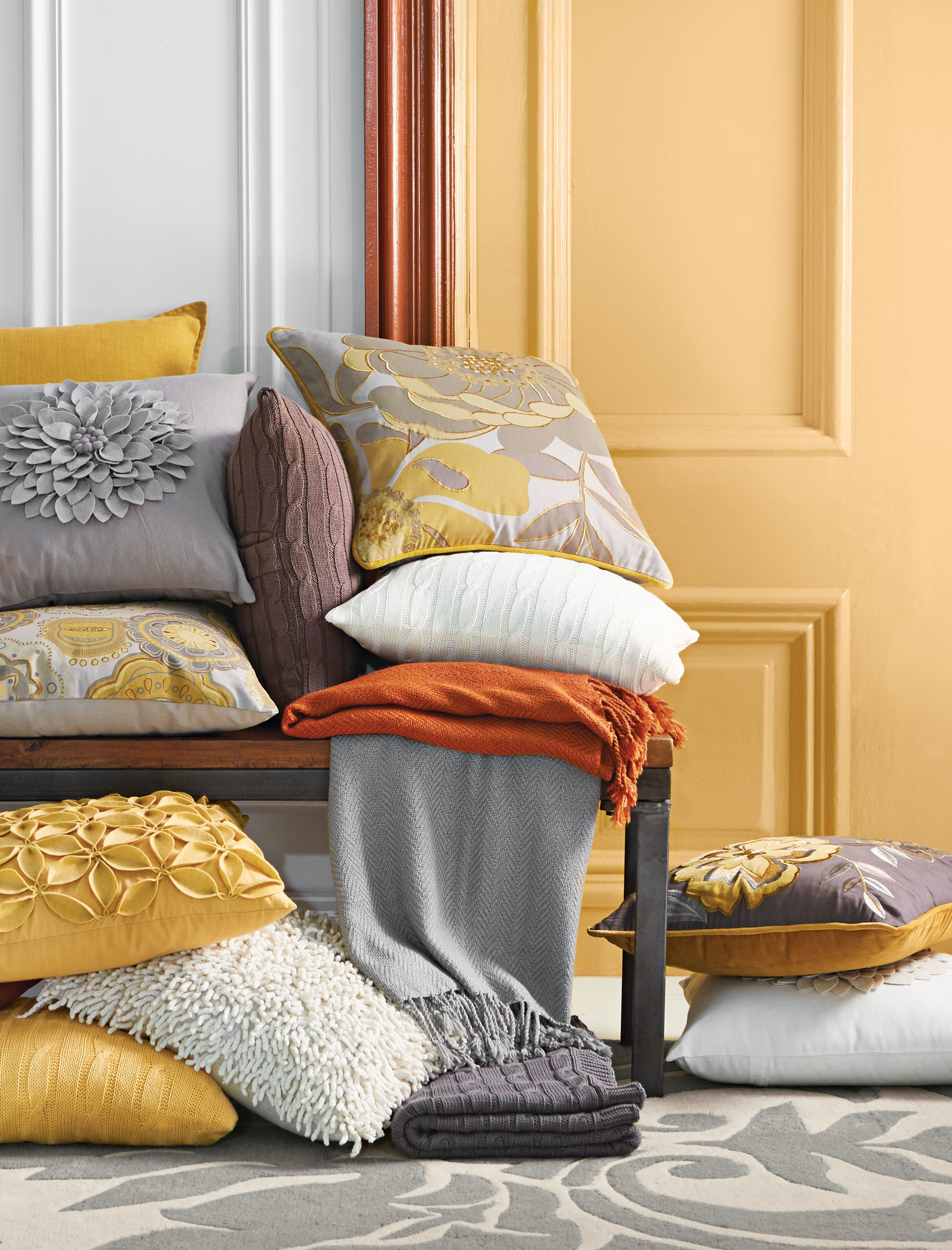 Gorgeous golden yellow burnt orange and grey are just a few fall