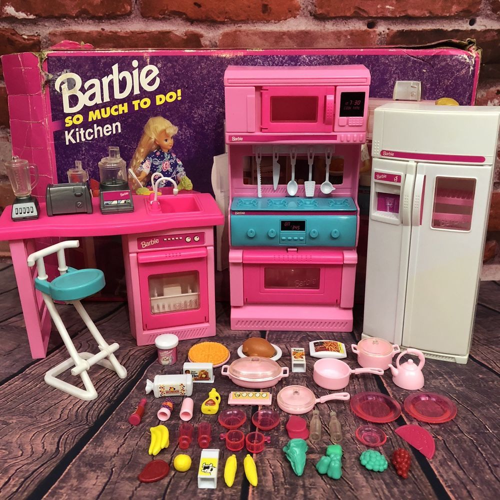 Vintage Barbie So Much To Do Kitchen Set Mattel 1994 67158 Stove Fridge Sink Ebay Barbie Doll Accessories Barbie Sets Barbie Toys
