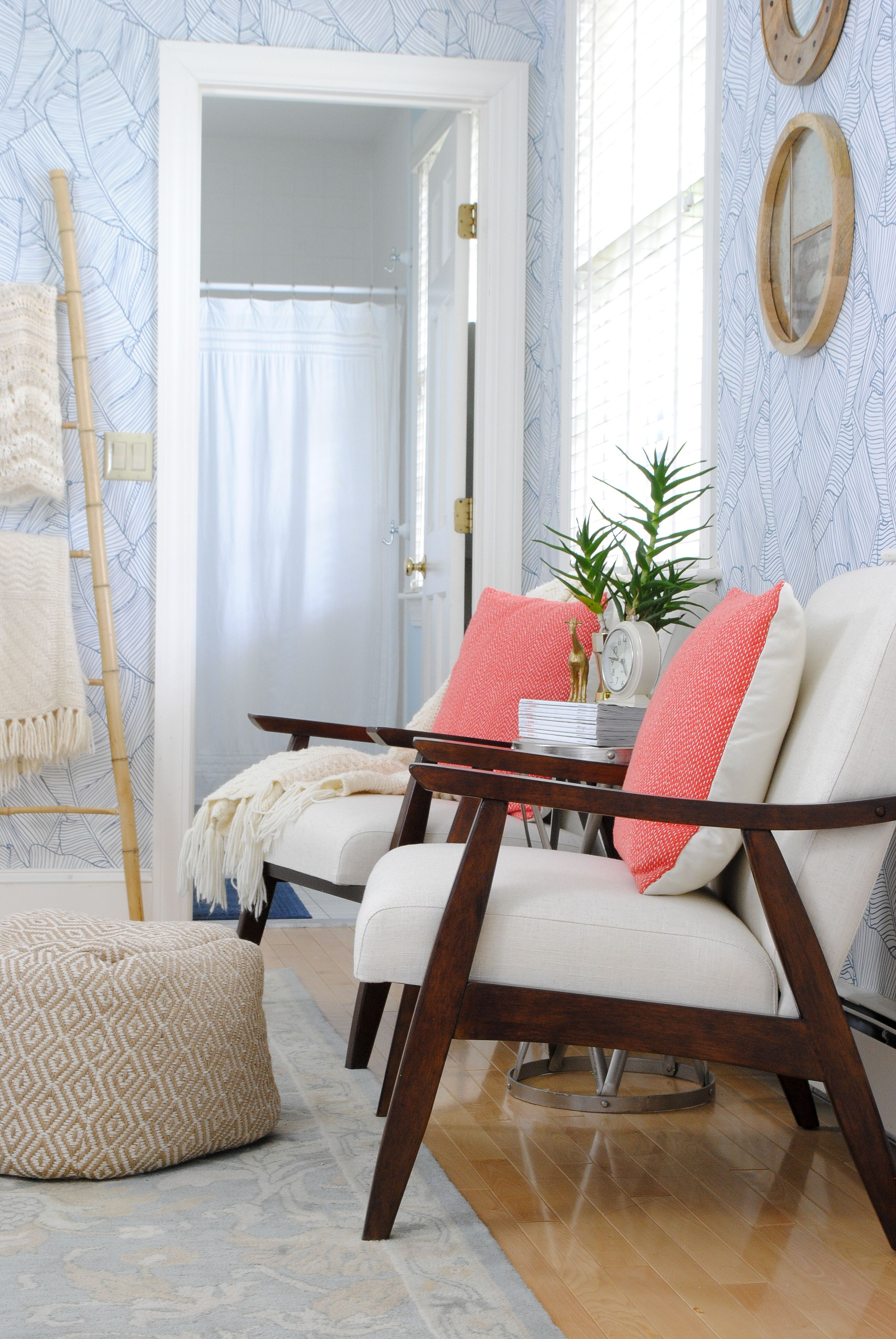 Mid Century Modern Chairs In A Guest Bedroom   Perfect For A Compact But  Cozy