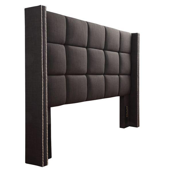 INSPIRE Q Parker Linen Nailhead Wingback Panel Upholstered King ...