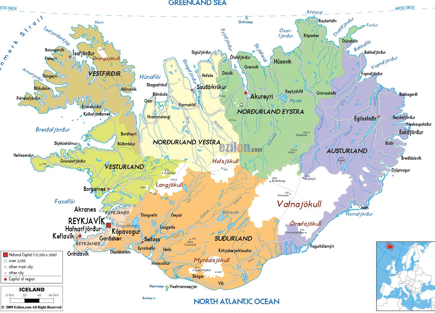 Detailed political and administrative map of Iceland with roads