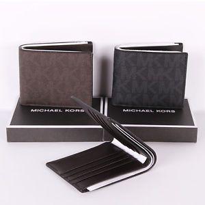 ddaf621179b4 NWT Michael Kors Jet Set Mens Signature Billfold Wallet in Gift Box ...