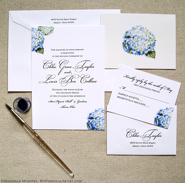 Hand Painted Hydrangea Wedding Invitations Design