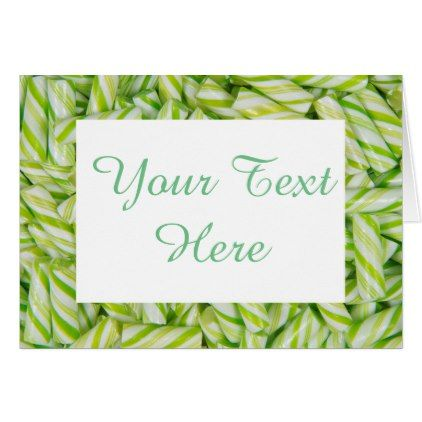 Blank Green \ White Candy Sticks Personalized Card - christmas - blank xmas cards