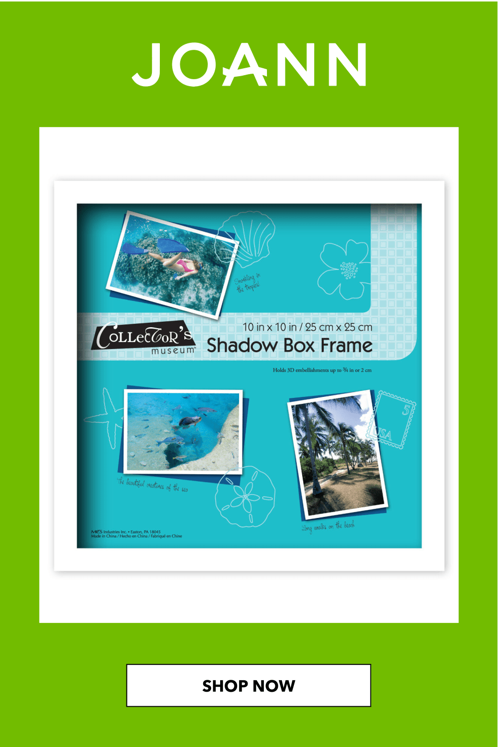 Mcs Industries Collector S Museum Shadow Box Frame 10 X10 White 10x10 Box Collectors Frame Industries Mcs Muse In 2020 Shadow Box Frames Box Frames Shadow Box