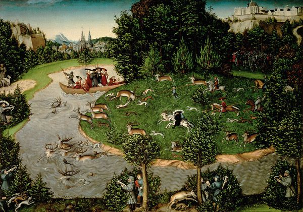 The Stag Hunt of the Elector Frederick the Wise.  By Lucas Cranach the Elder (Lucas Cranach der Ältere, 4 October 1472 – 16 October 1553)