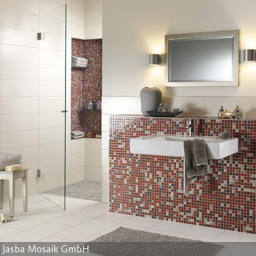 Mosaikfliesen in Beige und Rot Fliesen, Geschafft und Wände - fliesen beige