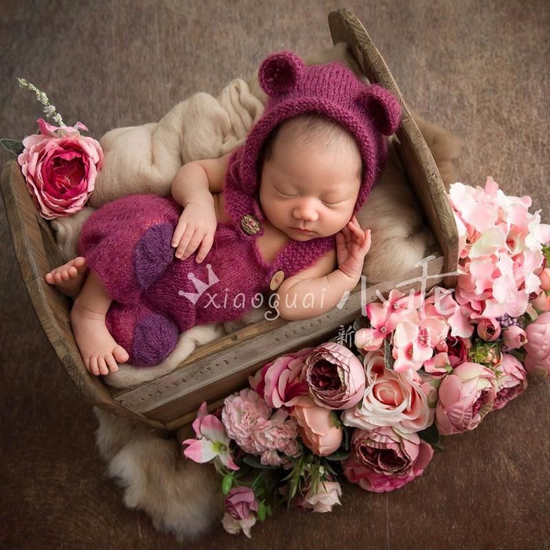 Girls Boys Newborn Baby Floral Romper Hat Outfits Set Photo Photography Props