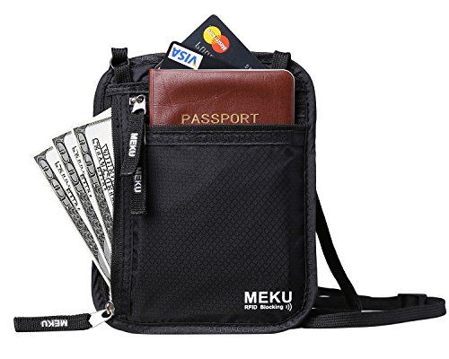 36de9b21eaf4 MEKU RFID Blocking Neck Stash Travel Wallet Passport Holder Hidden Pouch  Black     Visit