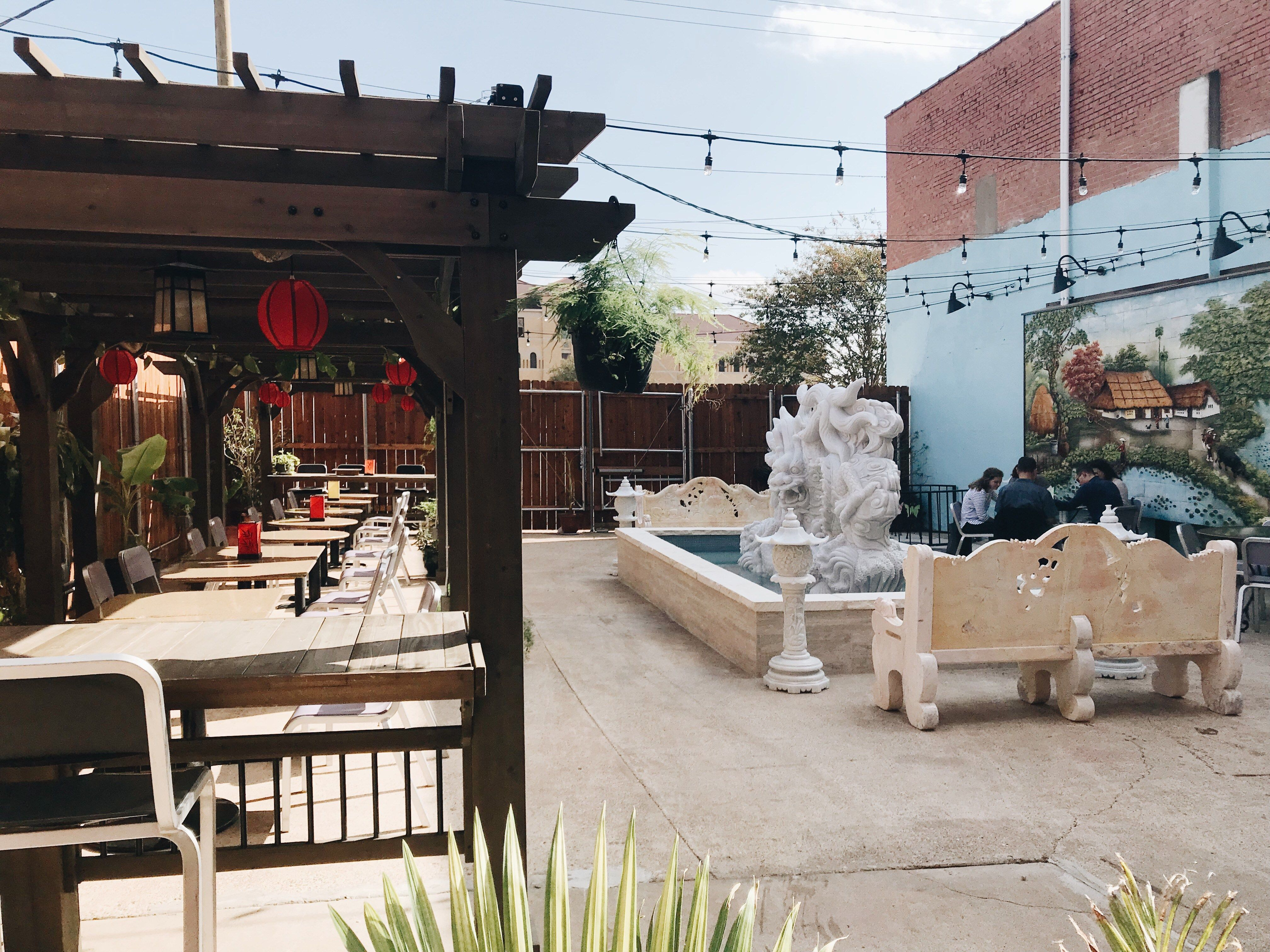 Outdoor patio at the Clay Pot Restaurant in downtown Waco