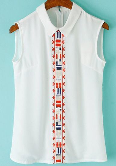 White Lapel Sleeveless Tribal Embroidered Blouse pictures