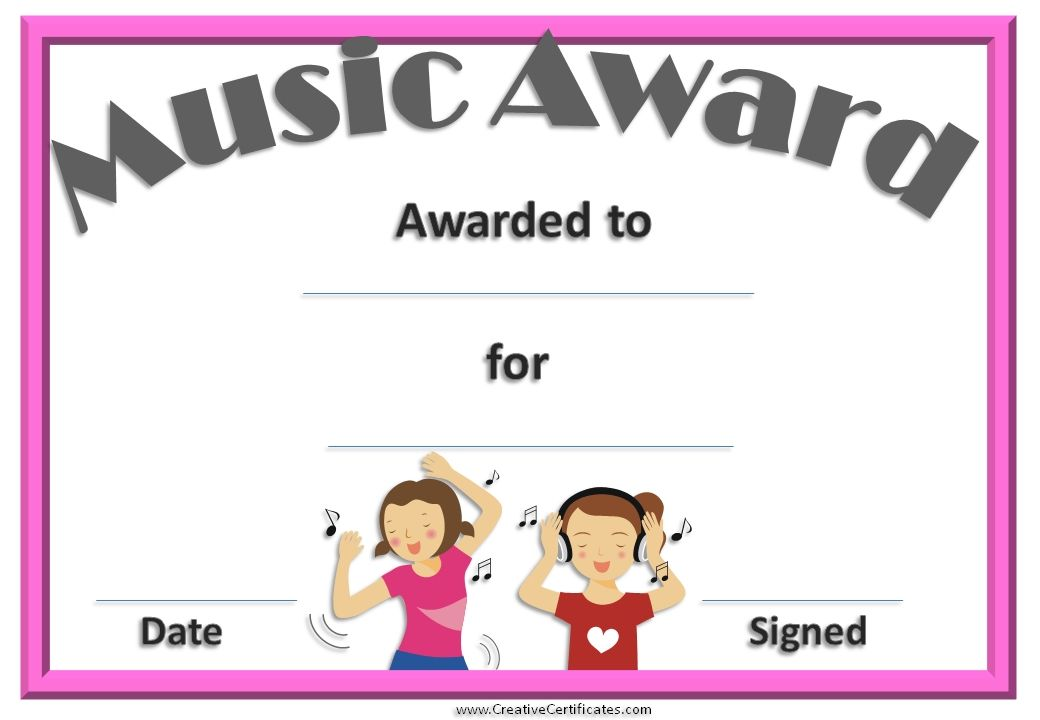 Free editable music certificate template free and