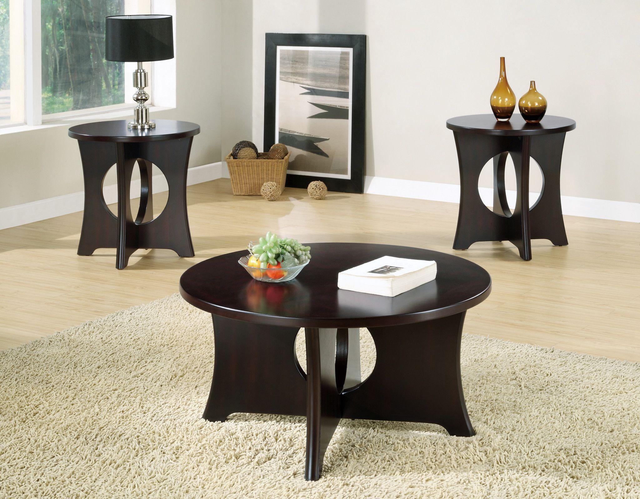Table Set 3 Piece Set Dark Espresso Veneer Espresso Coffee