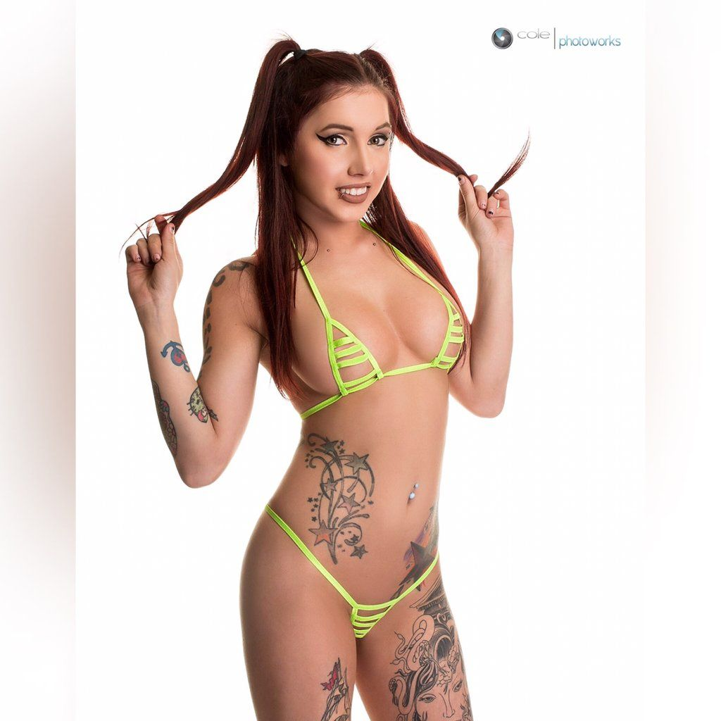 1e3530b8cf Sexy Model in Bitsy's Bikinis Neon Green String Only Exposed Micro  Crotchless Extreme Bikini Shop