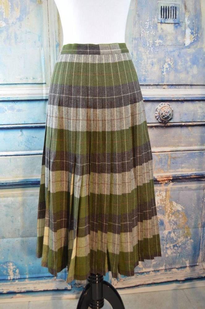 4e8075612 vtg PENDLETON turnabout reversible green plaid pleated wool skirt #Pendleton