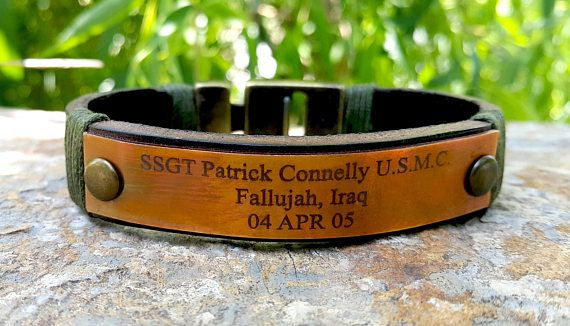 Personalized Military Bracelet Copper Plate Genuine Leather Kia Loss Of Loved