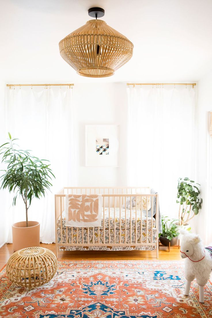 Beautiful Nursery With Wicker Light Fixture And Gorgeous