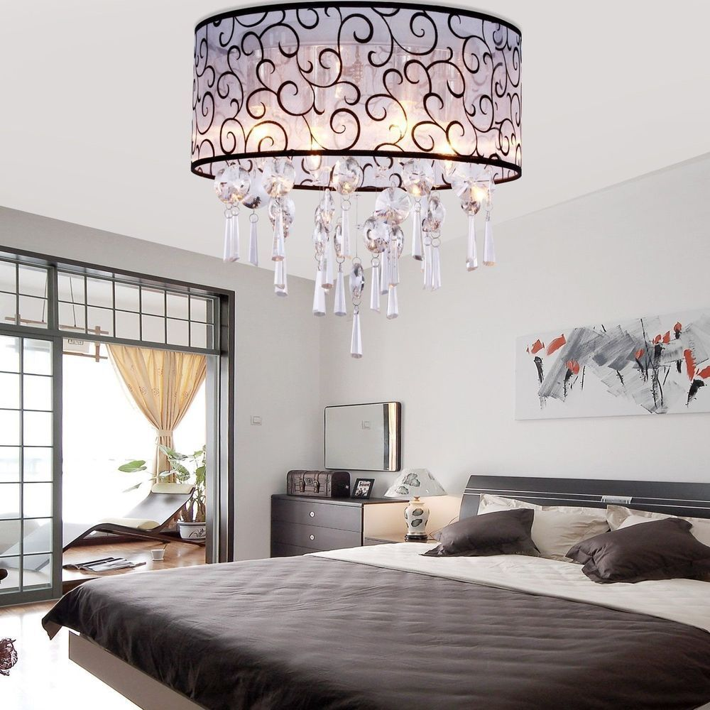 Elegant Silver Crystal Hanging Chandelier Ceiling Pendant Fixture Lighting S