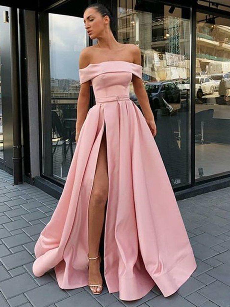 1aaf09bf6e Custom Made Off Shoulder Pink Prom Dress with High Slit