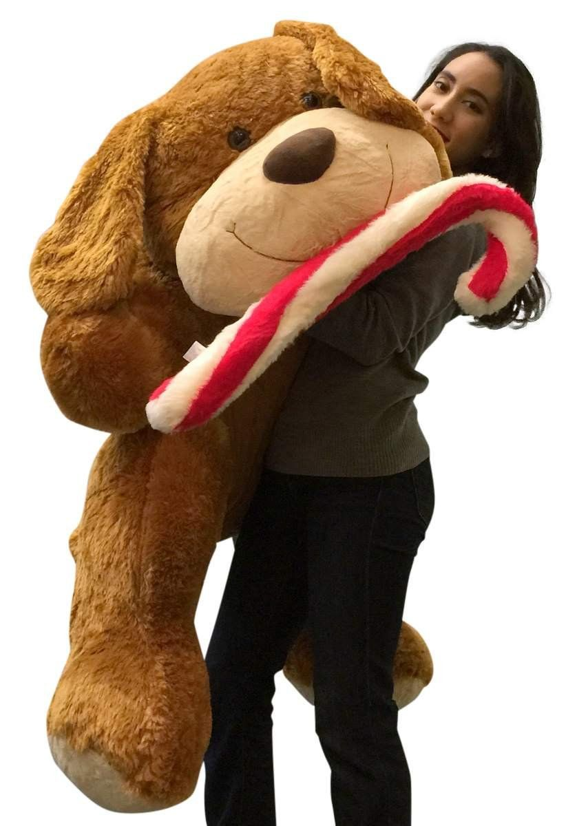 Christmas Giant Stuffed Dog 5 Foot Soft With Plush Candy Cane 60 Inch Plush Puppy Click Image To Revie Dog Chew Toys Dog Toy Ball Teddy Bear Stuffed Animal [ 1200 x 822 Pixel ]