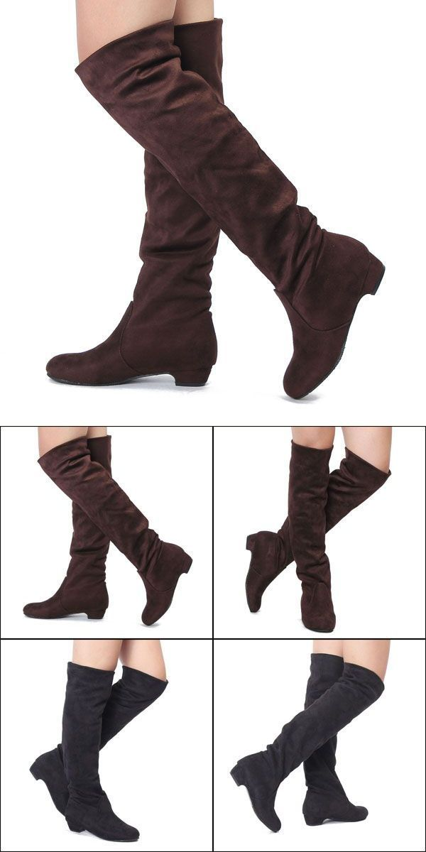Boots 9 Inch Shaft Women Flat Heel Over The Knee Suede Slouch Shoes Stretchy Winter Best Fashion Woman