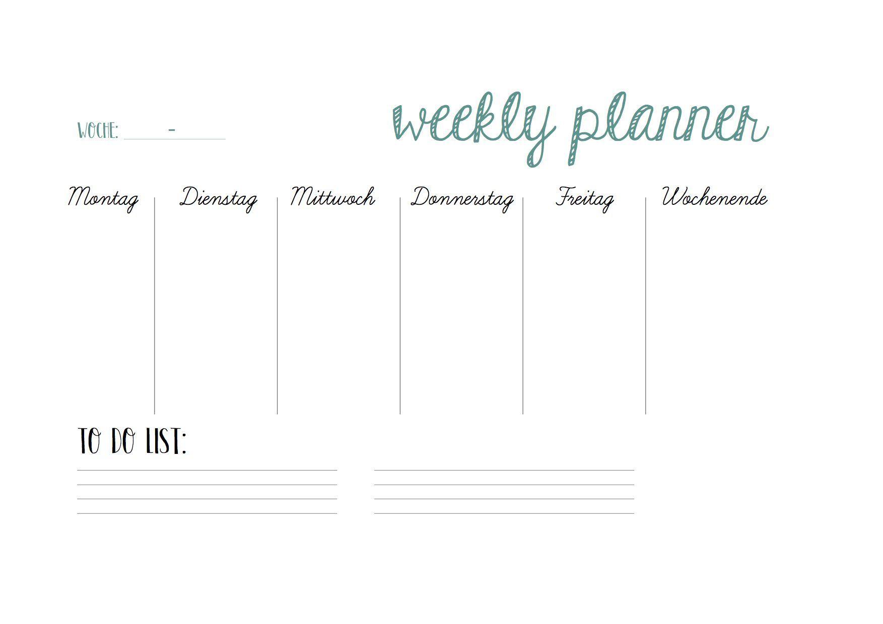 Druckvorlage Weekly Planner Druckvorlagen Kalender Erstellen Vorlagen