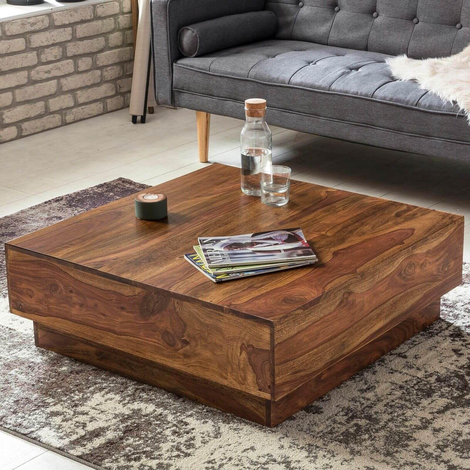 Finebuy Couchtisch Massiv Wohnzimmertisch Sheesham 90cm Holz Tisch