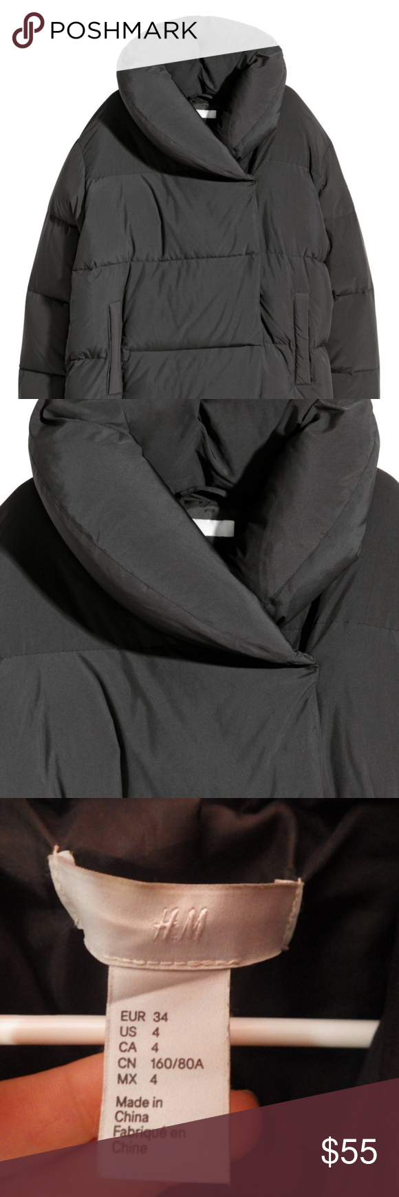 H&M Down Jacket Black Puffer Coat Never Worn Down Puffer