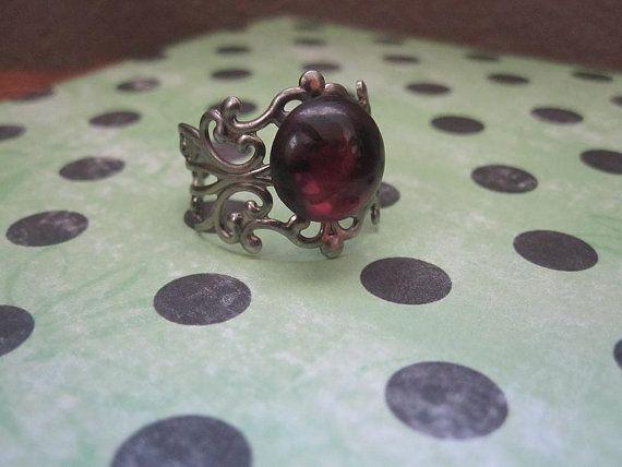 Vintage Style German Glass Filigree Ring in Deep Plum by iggychocs, $7.00